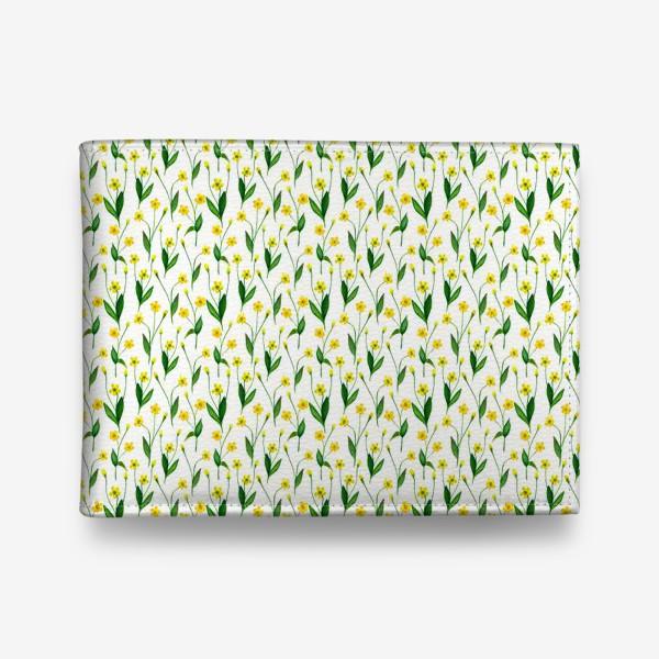 Кошелек «Паттерн милые жёлтые акварельные полевые цветы, жёлтые лютики»