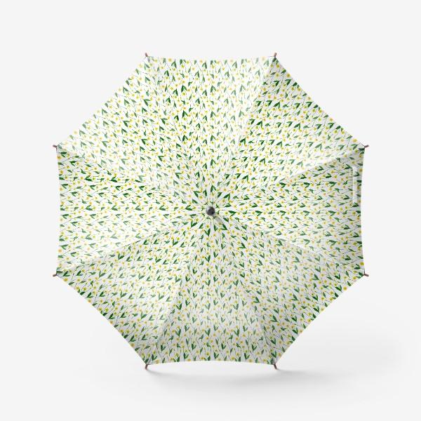 Зонт «Паттерн милые жёлтые акварельные полевые цветы, жёлтые лютики»