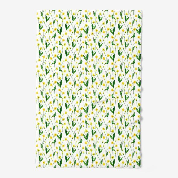Полотенце «Паттерн милые жёлтые акварельные полевые цветы, жёлтые лютики»