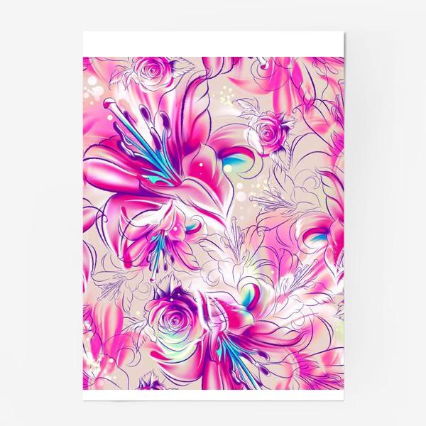 Постер «Бесшовный паттерн с лилиями»