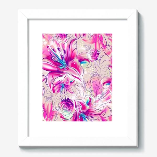 Картина «Бесшовный паттерн с лилиями»