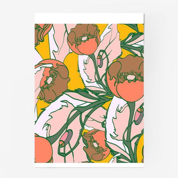 Постер «Бесшовный паттерн с маками»