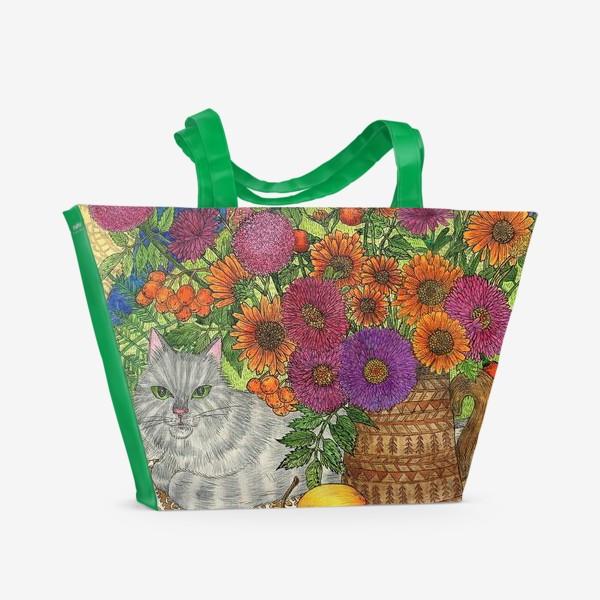 Пляжная сумка «Серый кот и цветы»
