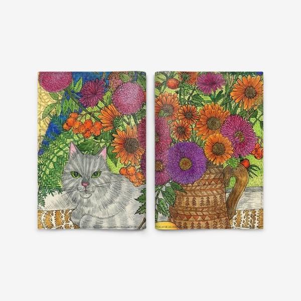 Обложка для паспорта «Серый кот и цветы»