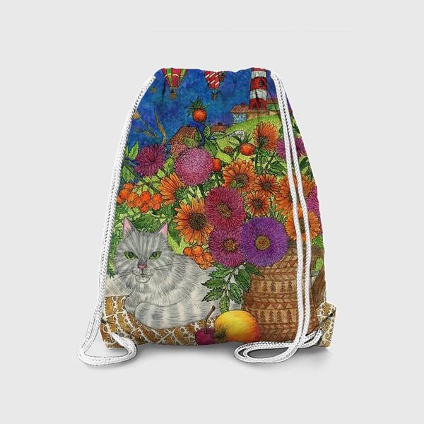 Рюкзак «Серый кот и цветы»
