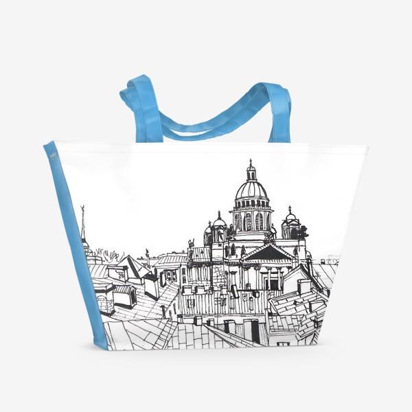 Пляжная сумка «В центре Петербурга - Ч\Б Питер»
