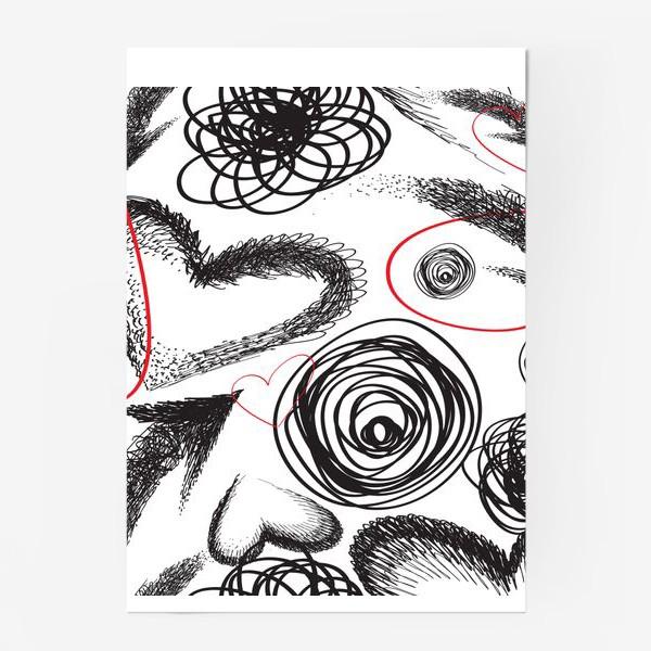 Постер «Дудлы, бесшовная текстура с сердечками»