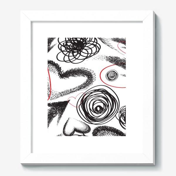Картина «Дудлы, бесшовная текстура с сердечками»