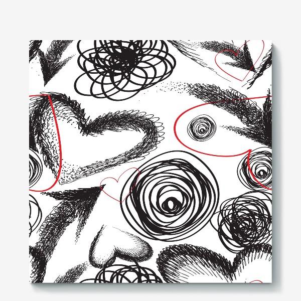 Холст «Дудлы, бесшовная текстура с сердечками»