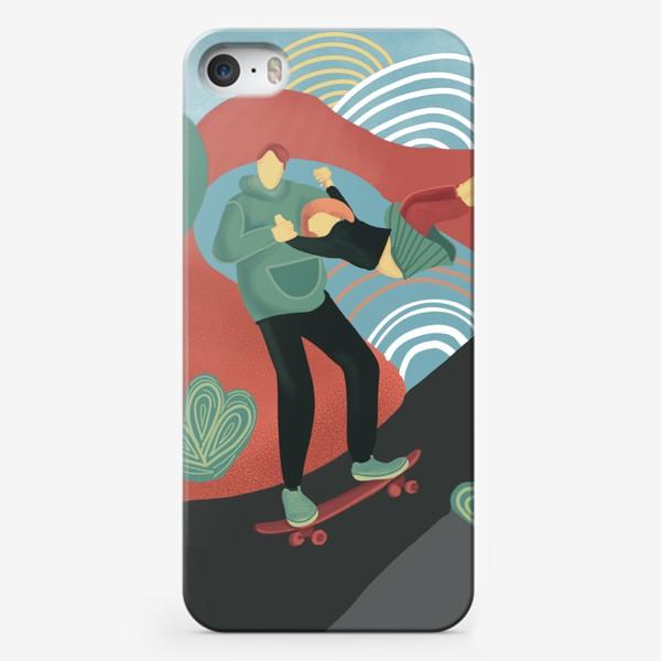 Чехол iPhone «Семейный скейтборд в парке»