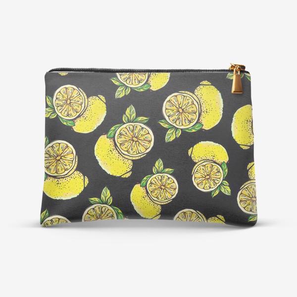 Косметичка «Яркие сочные акварельные лимоны »