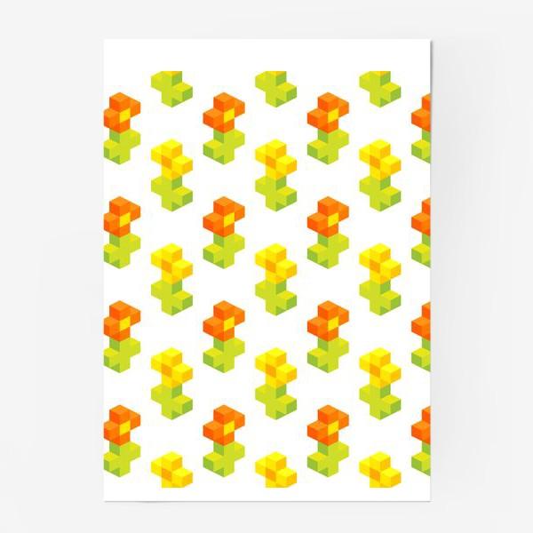 Постер «Цветочки. Пиксель-арт.»