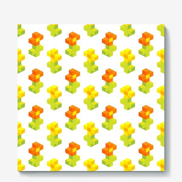 Холст «Цветочки. Пиксель-арт.»