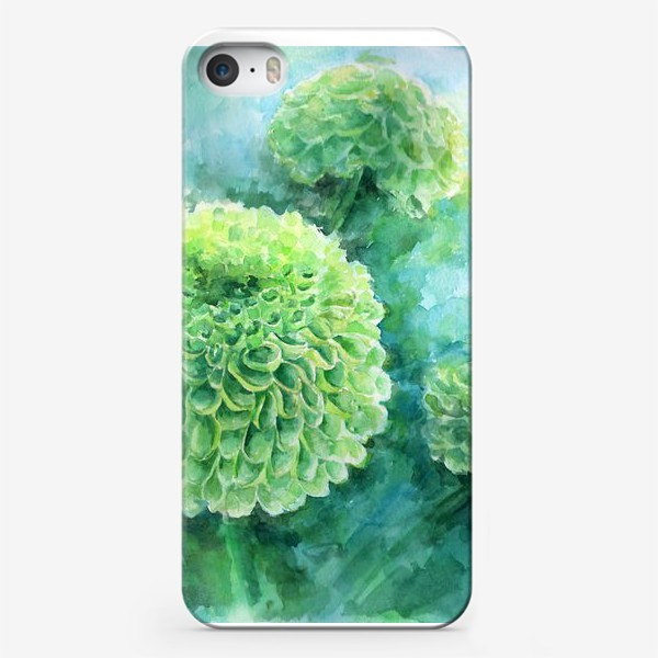 Чехол iPhone «Хризантема. В свете бирюзы»