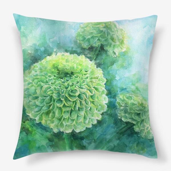 Подушка «Хризантема. В свете бирюзы»