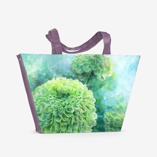 Пляжная сумка «Хризантема. В свете бирюзы»