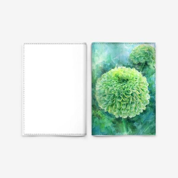Обложка для паспорта «Хризантема. В свете бирюзы»