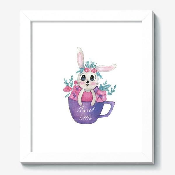 Картина «Зайка с цветами в кружке»