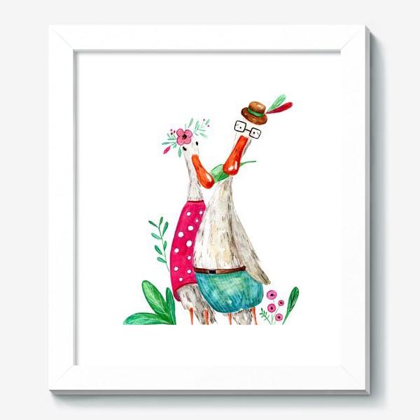 Картина «Влюбленные гуси с цветами»