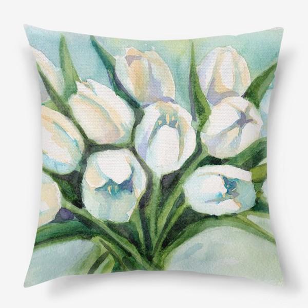 Подушка «Белые тюльпаны»