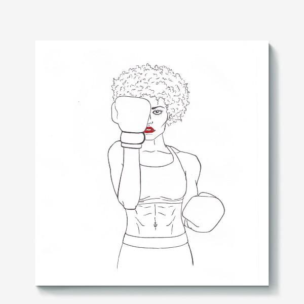 Холст «Девушка боксёр »