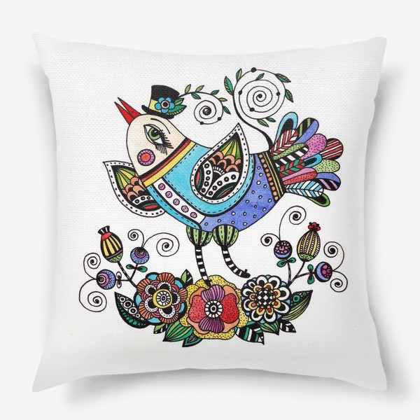 Подушка «Птица в голубом»