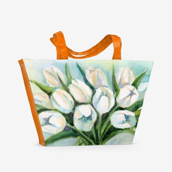 Пляжная сумка «Белые тюльпаны»