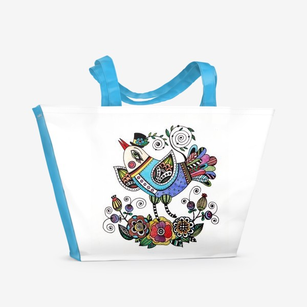 Пляжная сумка «Птица в голубом»