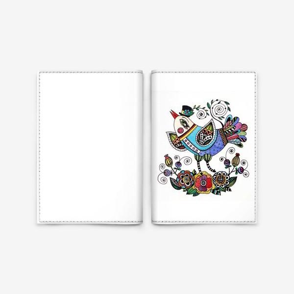 Обложка для паспорта «Птица в голубом»