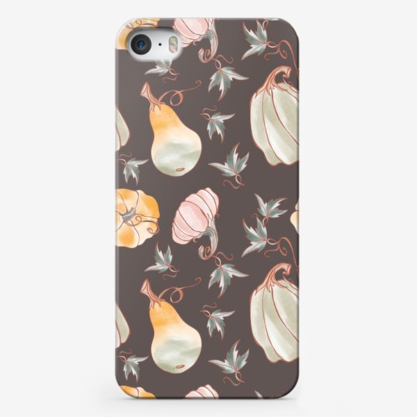 Чехол iPhone «Сказочные тыквы паттерн в пастельных тонах на темном»