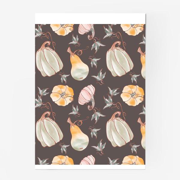 Постер «Сказочные тыквы паттерн в пастельных тонах на темном»