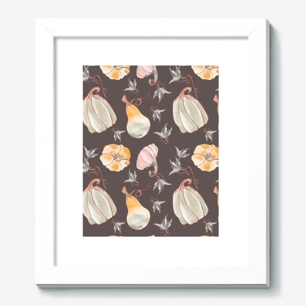 Картина «Сказочные тыквы паттерн в пастельных тонах на темном»