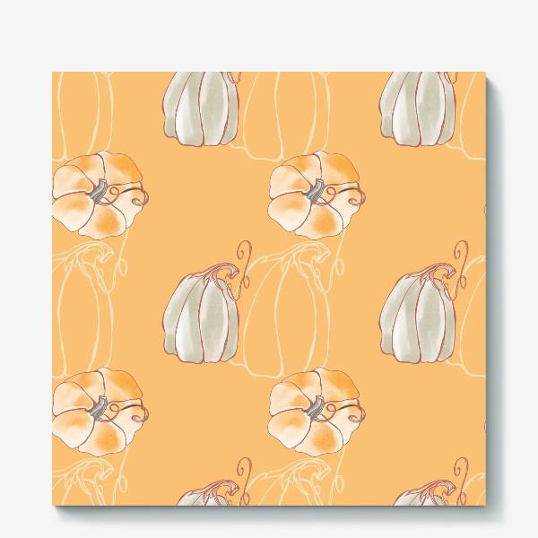 Холст «Яркие милые тыквы на оранжевом»