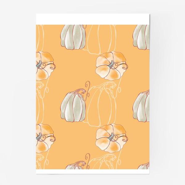 Постер «Яркие милые тыквы на оранжевом»