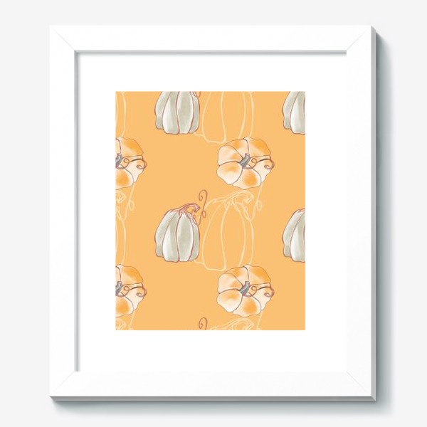 Картина «Яркие милые тыквы на оранжевом»