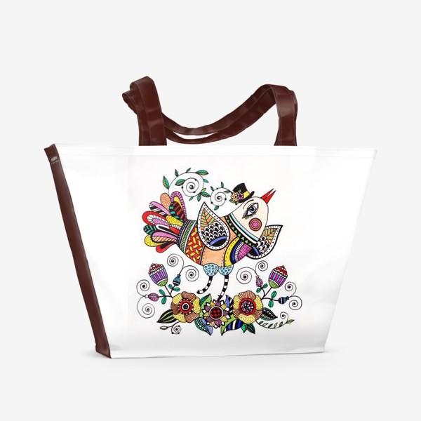 Пляжная сумка «Птица в любви»