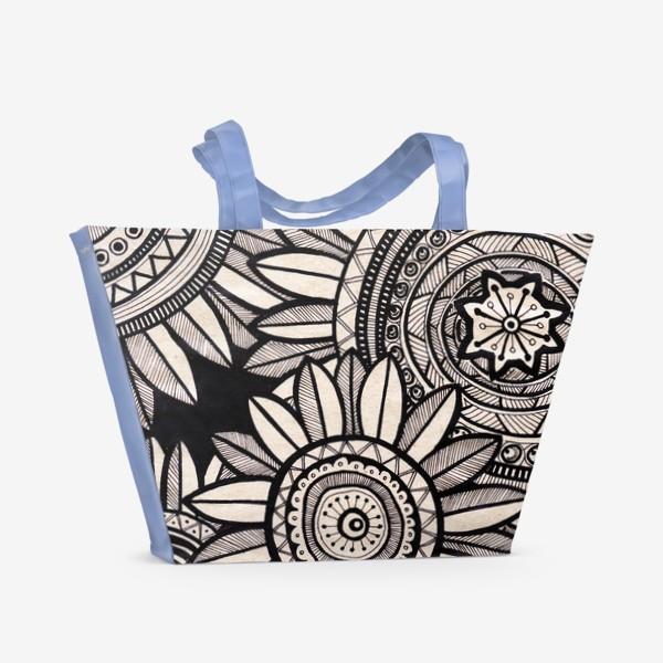 Пляжная сумка «Этнические подсолнухи»