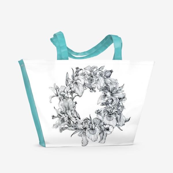 Пляжная сумка «Ирисы и кувшинки»