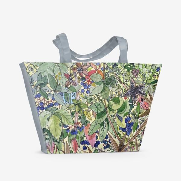 Пляжная сумка «Тропическая листва. Орнамент»