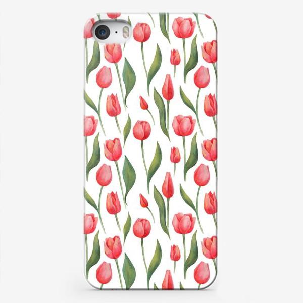 Чехол iPhone «Красные акварельные тюльпаны»