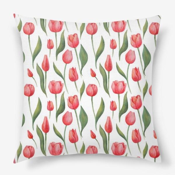 Подушка «Красные акварельные тюльпаны»