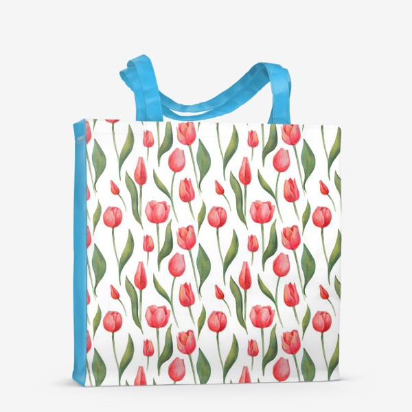 Сумка-шоппер «Красные акварельные тюльпаны»