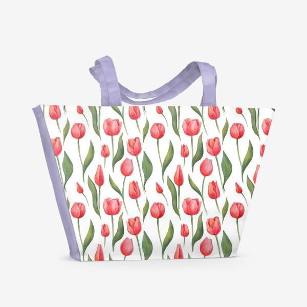 Пляжная сумка «Красные акварельные тюльпаны»