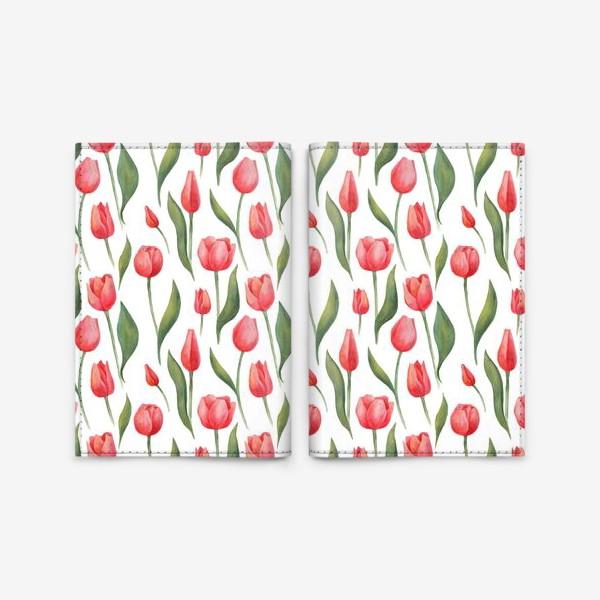 Обложка для паспорта «Красные акварельные тюльпаны»