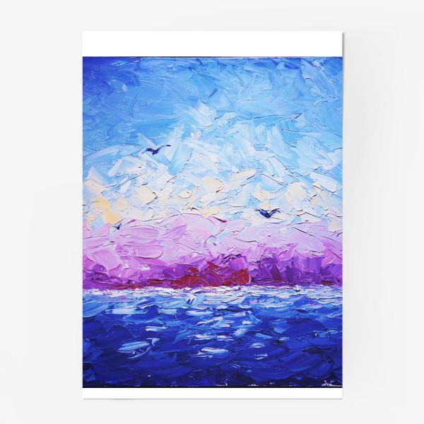 Постер «Рассвет на море. Картина маслом»