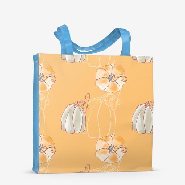 Сумка-шоппер «Яркие милые тыквы на оранжевом»