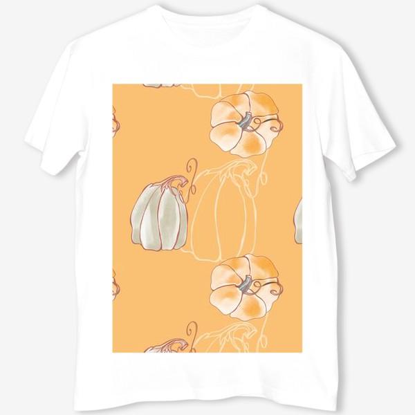 Футболка «Яркие милые тыквы на оранжевом»