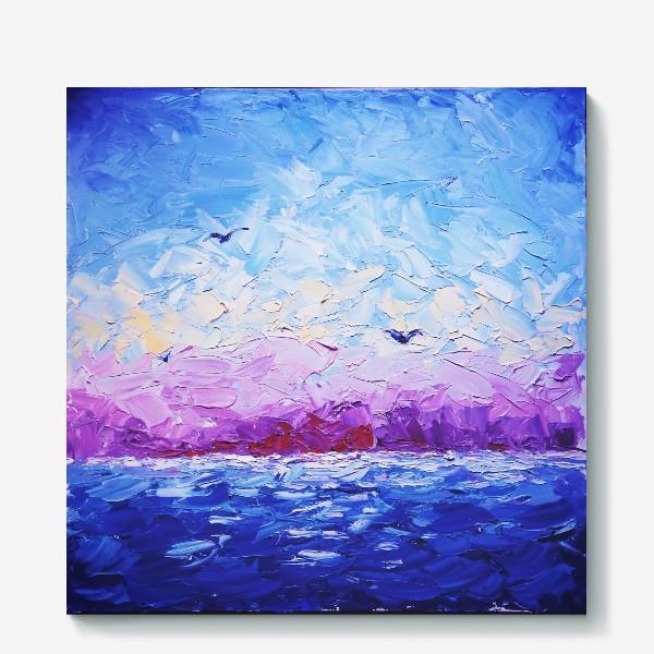 Холст «Рассвет на море. Картина маслом»