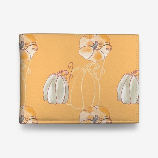 Кошелек «Яркие милые тыквы на оранжевом»