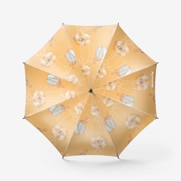 Зонт «Яркие милые тыквы на оранжевом»